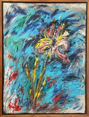A colorful, loosely painted abstract flower